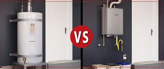 standard water heater vs tankless water heater
