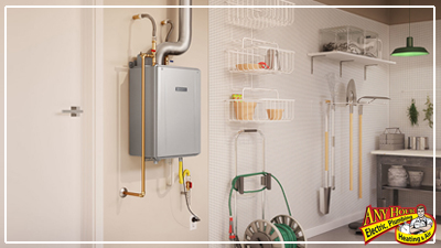 tankless water heater - less space needed