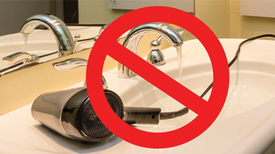 home electrical safety - don't mix electricity and water