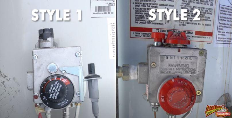 water heater pilot light controls